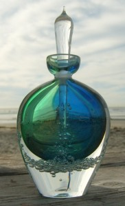 green and blue amphora