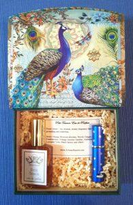 peacock gift box inside
